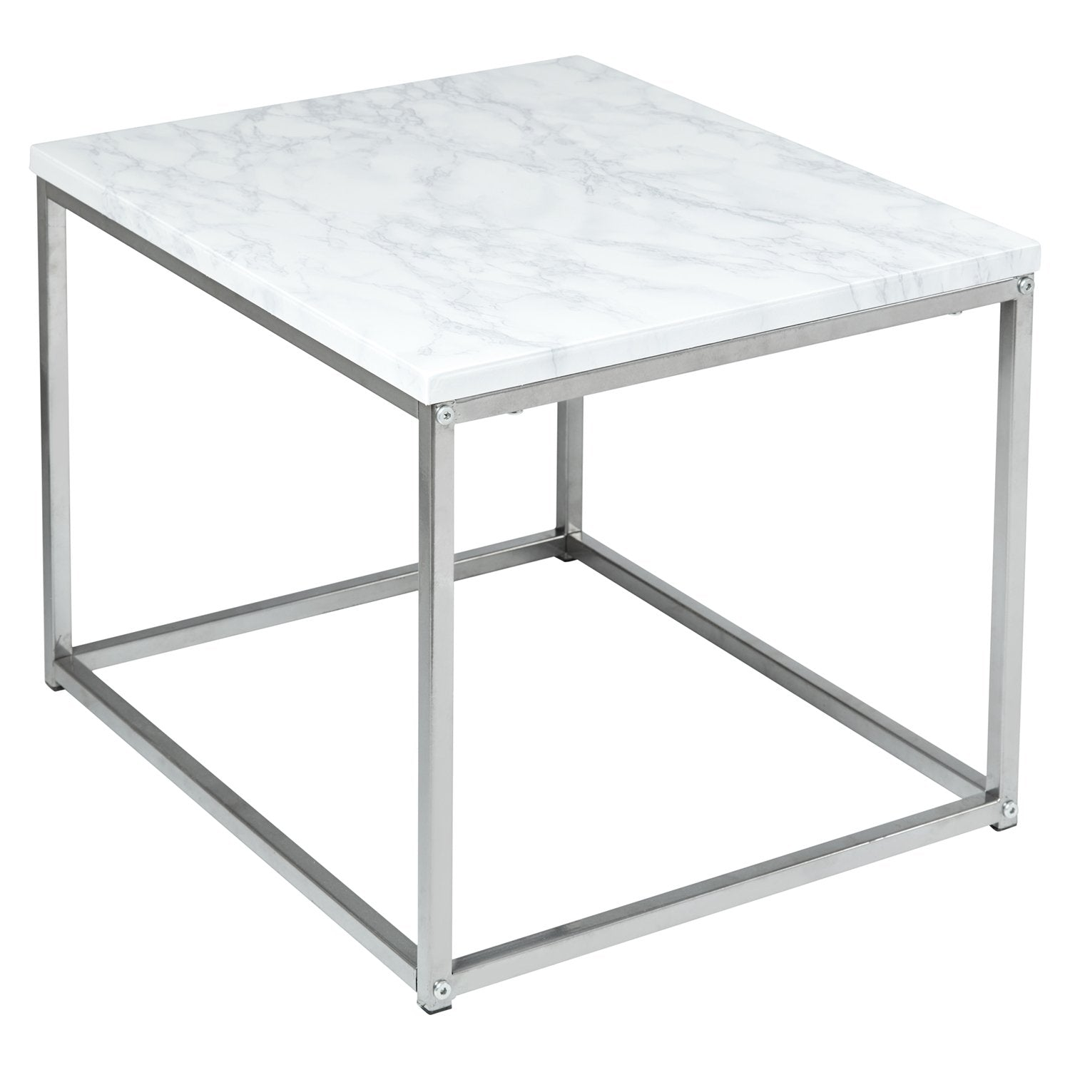 Jay Coffee Table And Side Table Set Marble Effect And Chrome Laura James