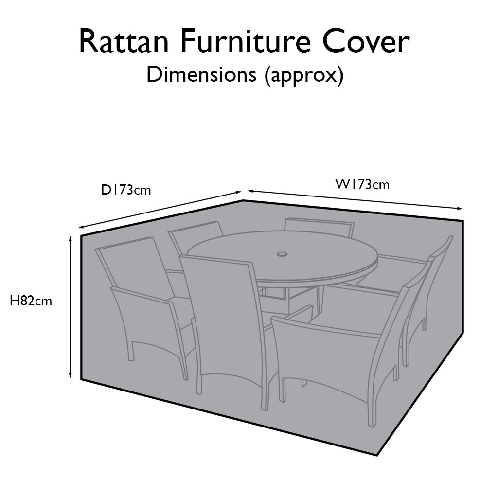 Outdoor Rattan Furniture Cover for 6 Seater Round Dining Set - Laura James