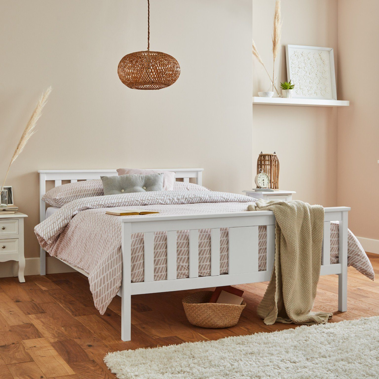 White wooden king size bed frame - Laura James