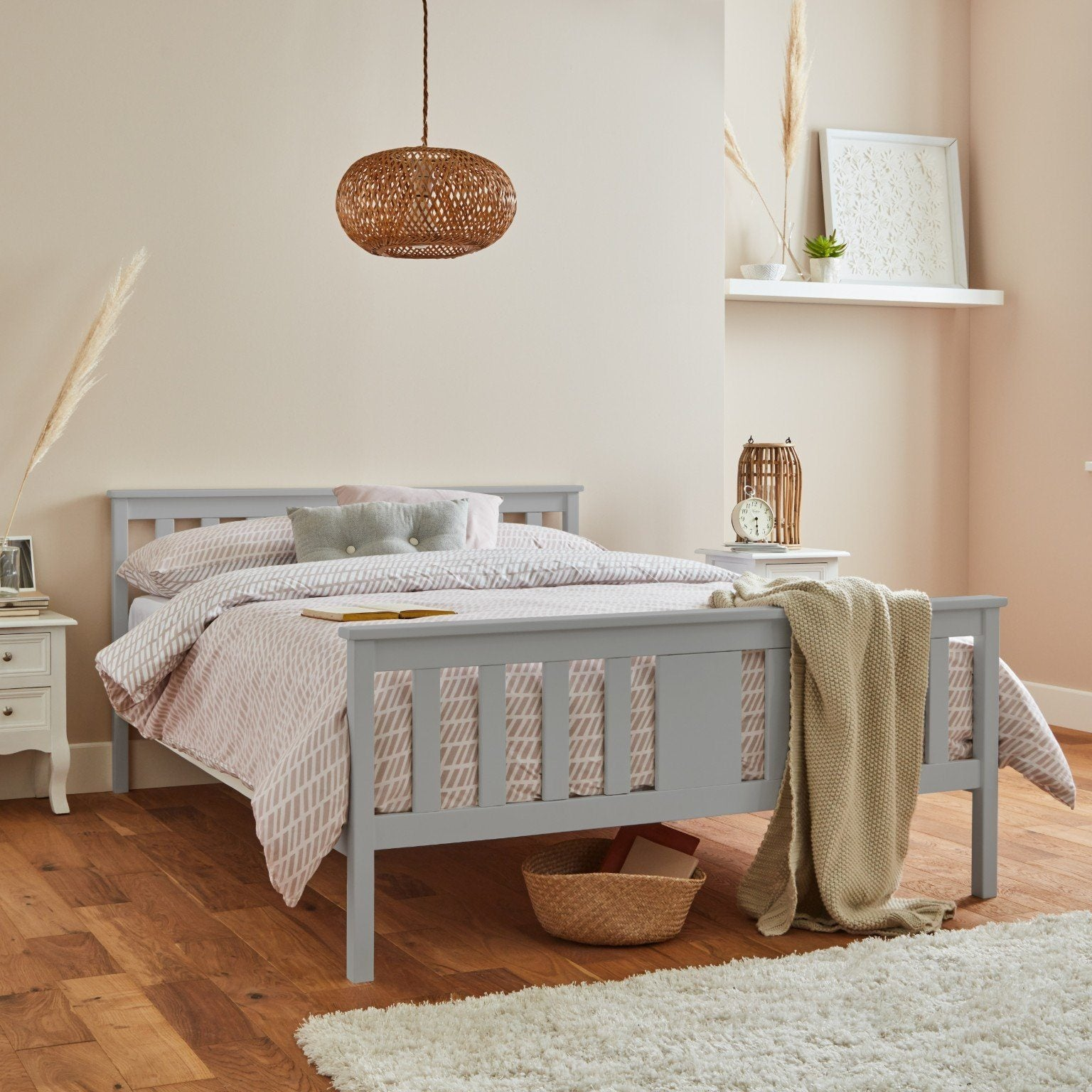 Lisa Wooden Double Bed Frame Grey Laura James