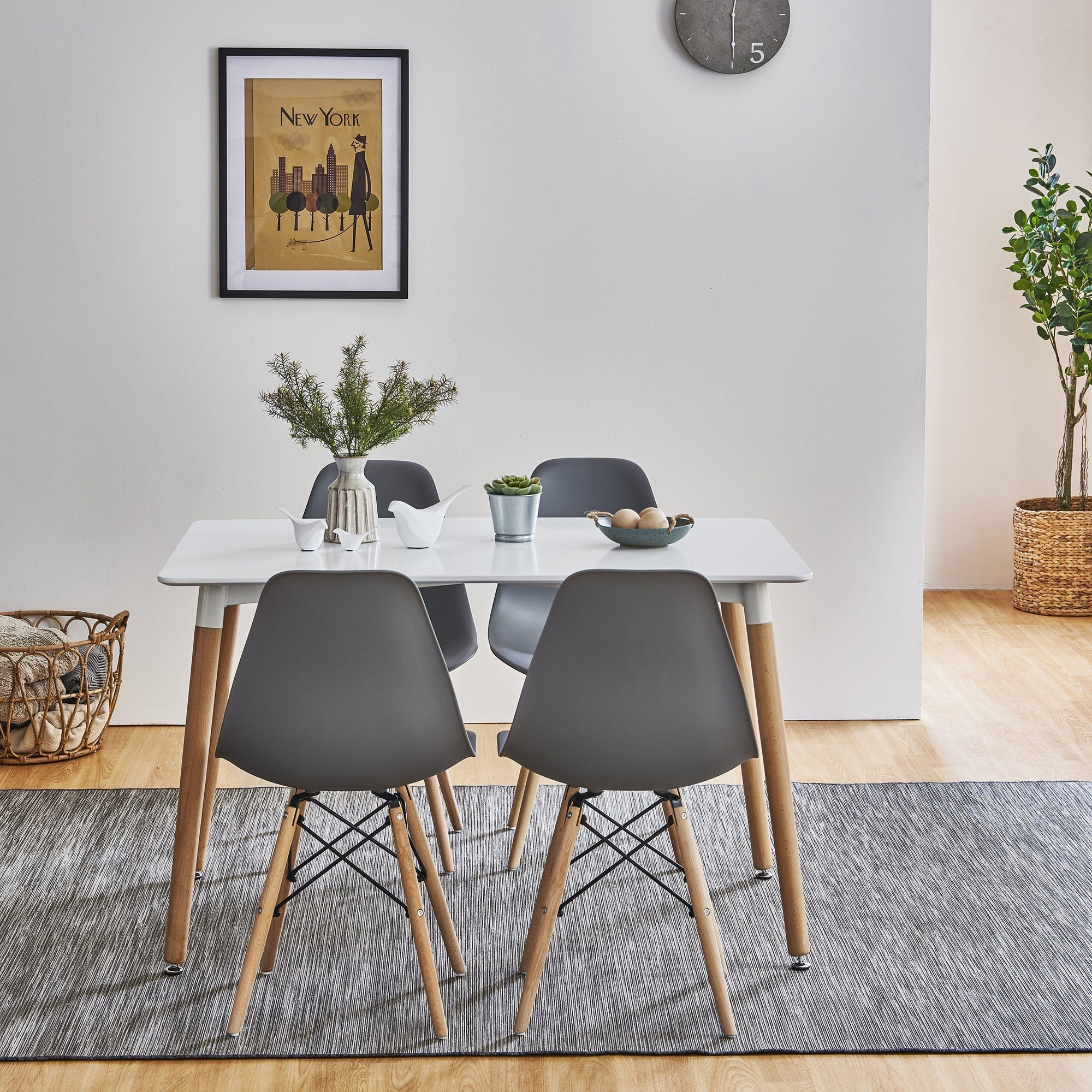 Inge Dining Table and Chairs set with 4 Dark Grey Chairs - Laura James