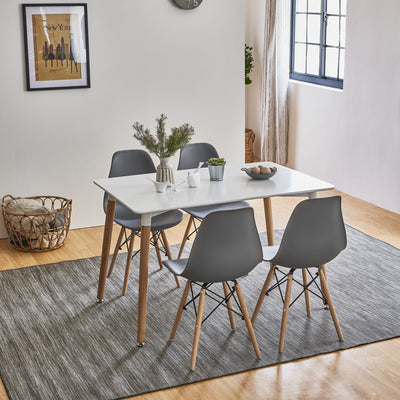 Inge Dining Table and Chairs set with 4 Dark Grey Chairs - In Stock 11th October - Laura James