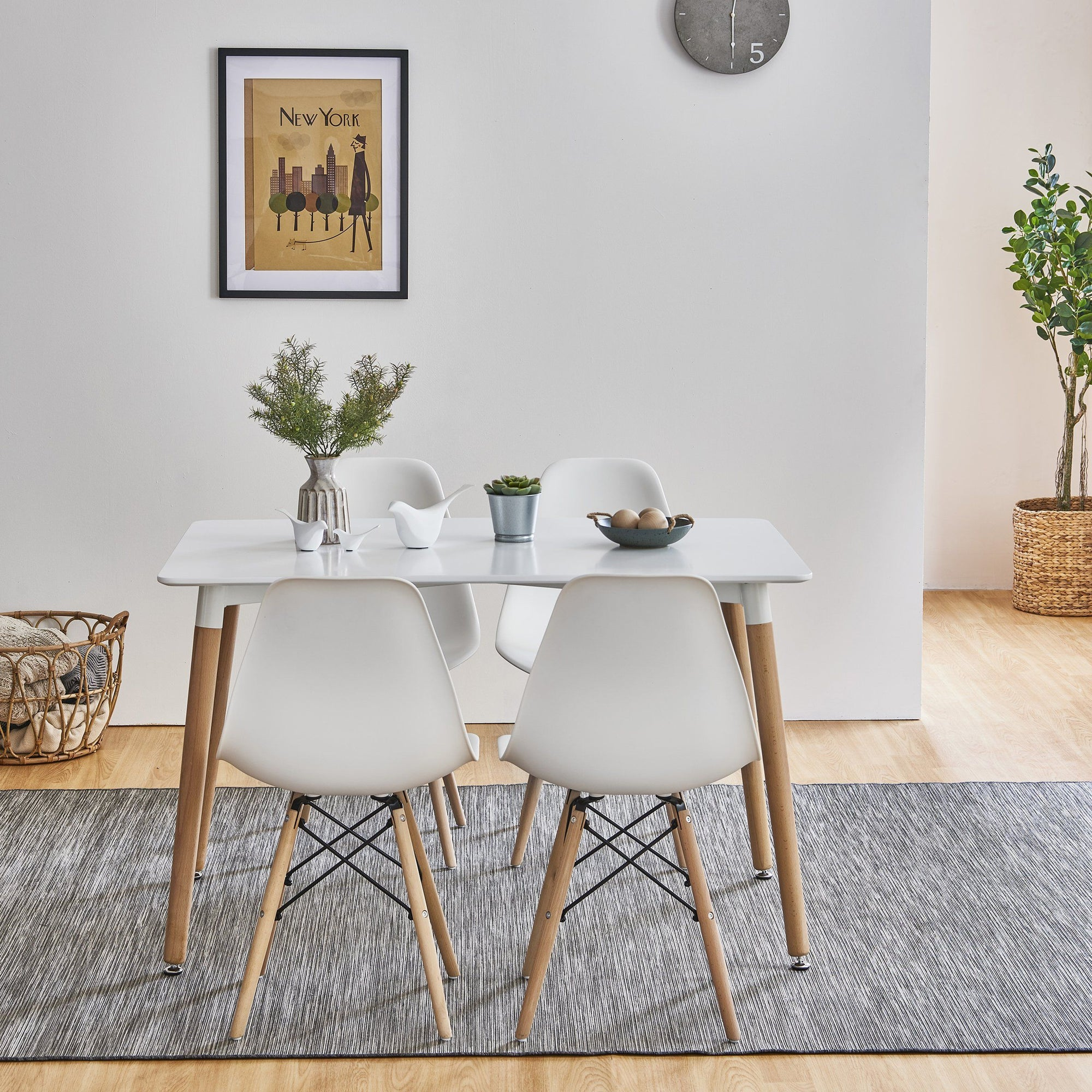 Inge Dining Table and 4 White Chairs - Laura James