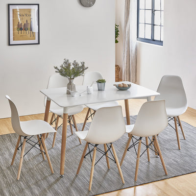 Inge Dining Table and Chairs Set with 6 White Chairs - Laura James