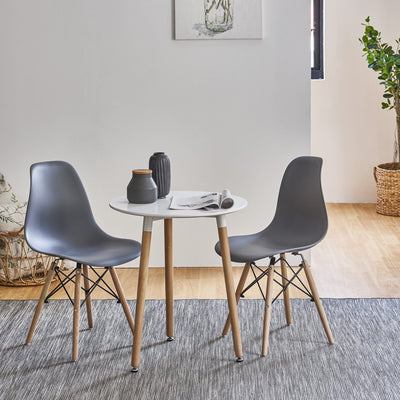 Inge Bistro Set with 2 Dark Grey Chairs - Laura James