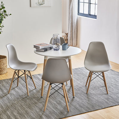 Inge Round Kitchen Table with 4 Light Grey Chairs - Laura James