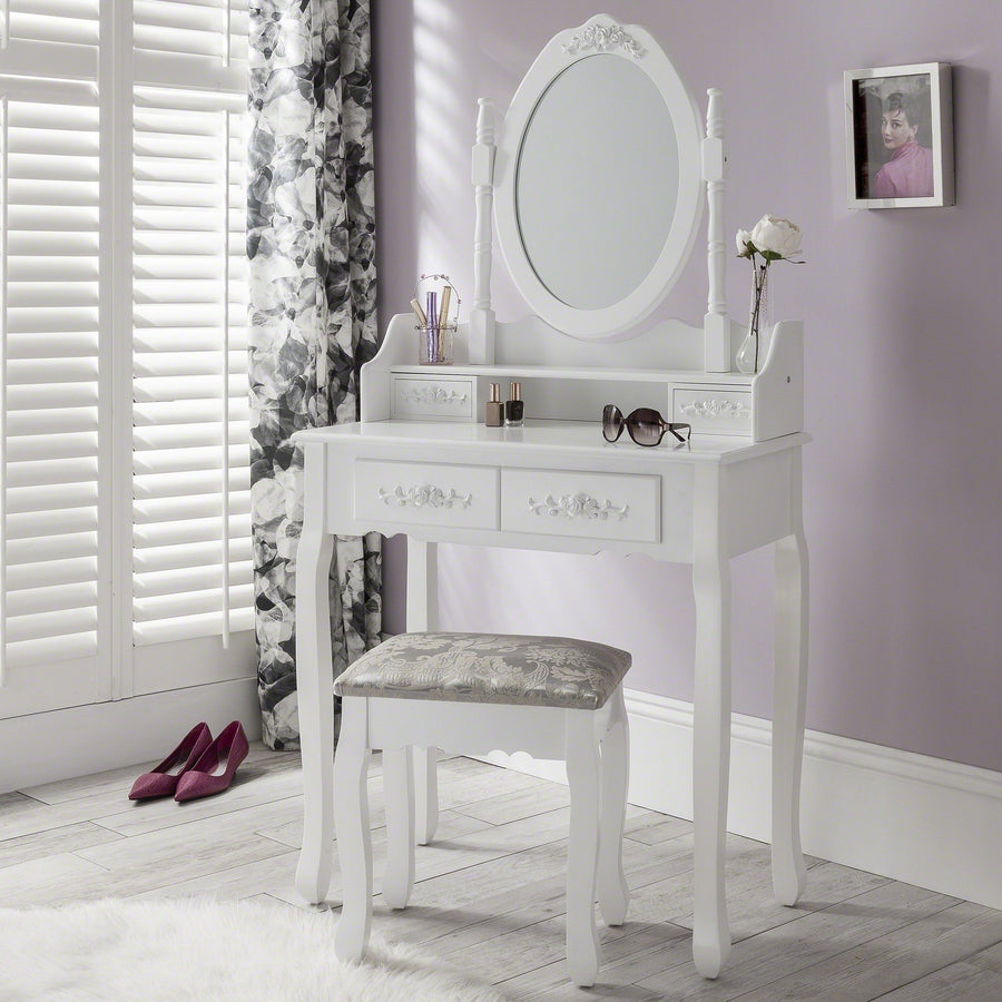 Laura James Dressing Table with Mirror and Stool Set - White Capri Dre