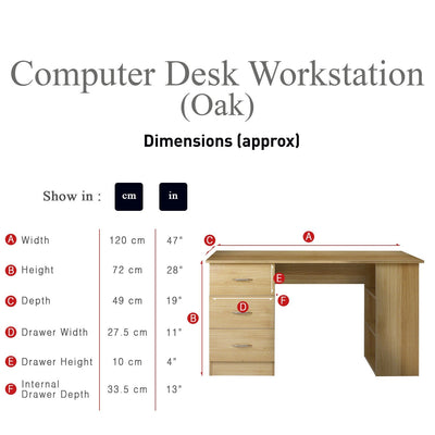 Oak Desk - with 3 Drawers / 3 Shelves - Laura James