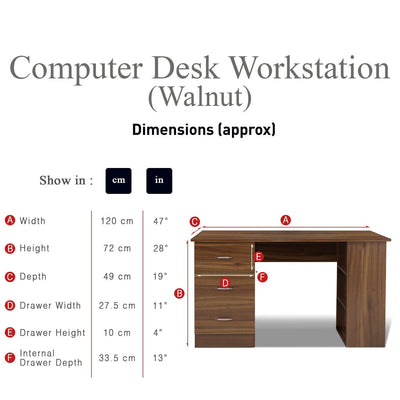 Walnut Desk with 3 Drawers / 3 Shelves - Laura James