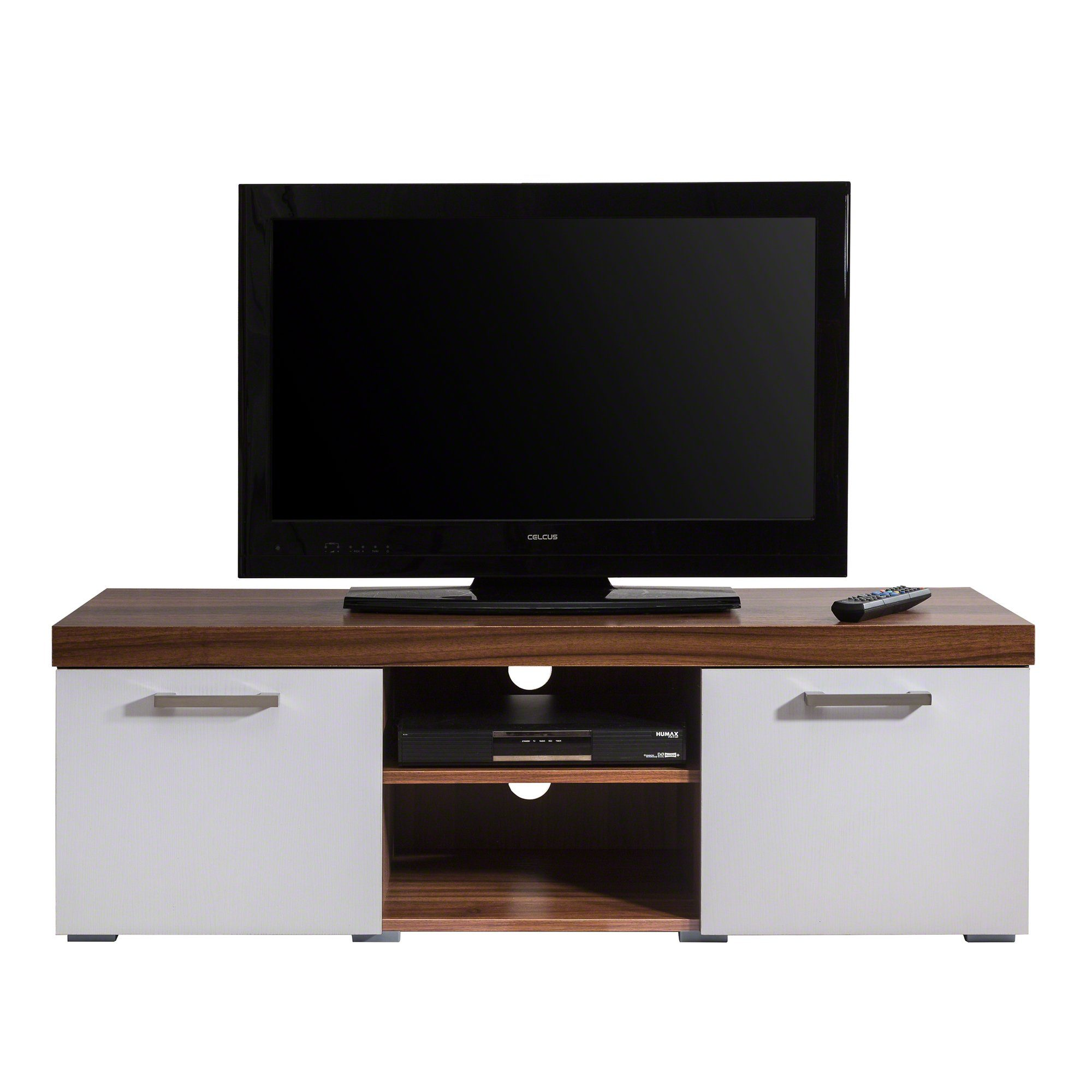 TV Stand Unit - Walnut and White - Laura James
