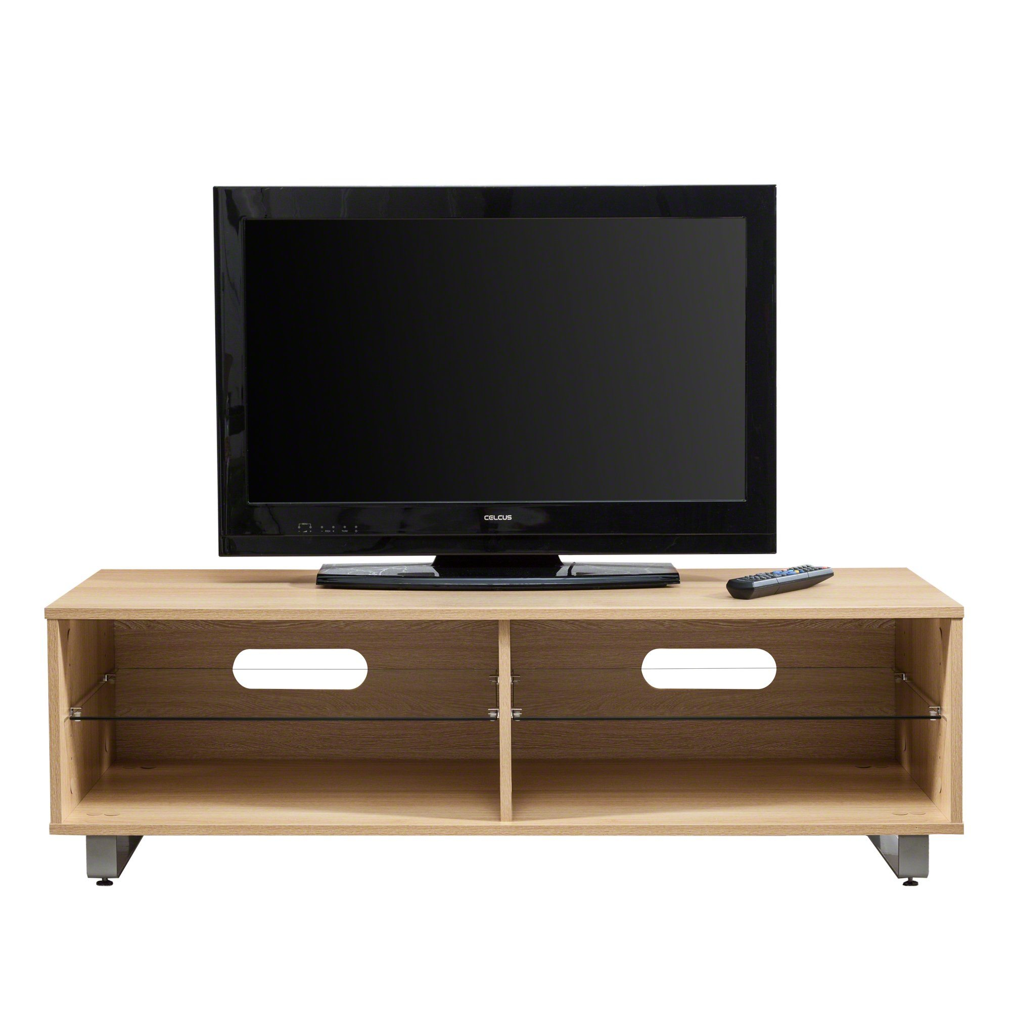 Oak TV Stand with Glass Shelf and Storage - Laura James