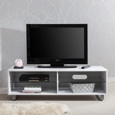 TV Stand Cabinet with Glass Shelf and Storage can hold up to 60 inch TV's (White) - Laura James