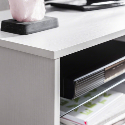 White TV Stand with Glass Shelf and Storage - Laura James