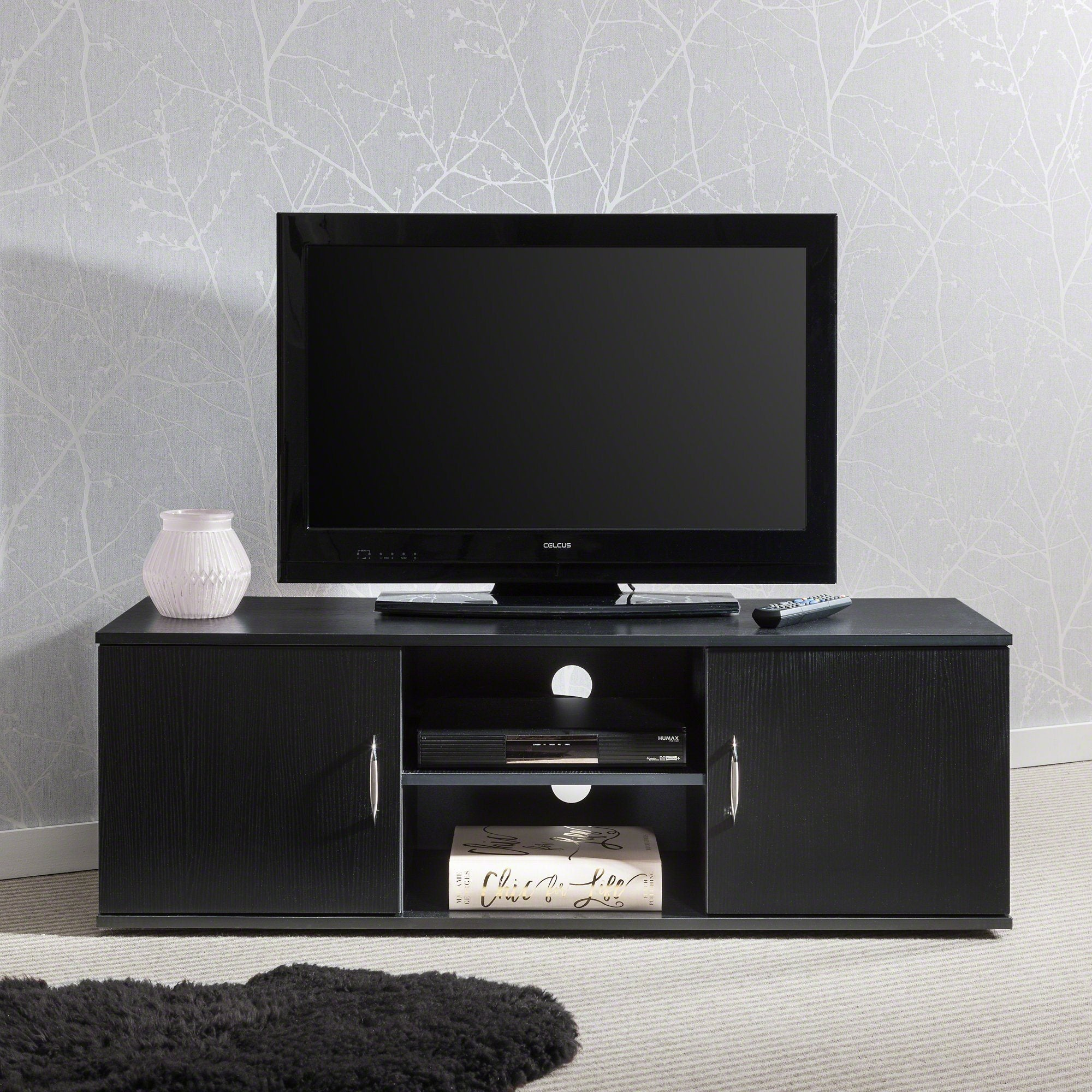 tv stand cabinet unit double door with storage and shelf, laura james