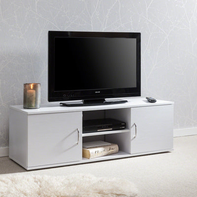 White TV Unit Cabinet and Stand - with 2 Doors, Storage and shelf by Laura James - Laura James