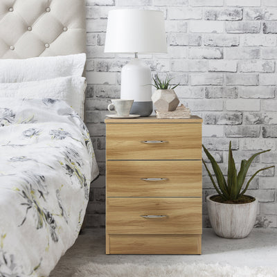 Beech Bedside Tables Cabinet - 3 Drawers - Laura James