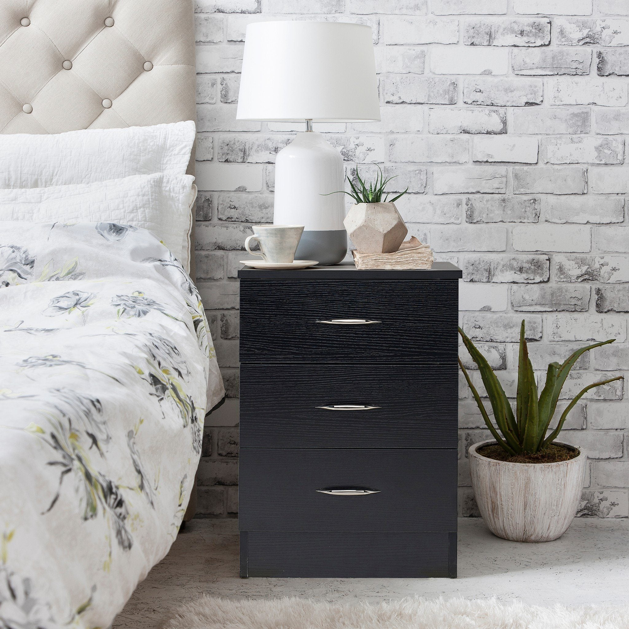 Picture of: Black Bedside Tables Cabinet 3 Drawers Laura James