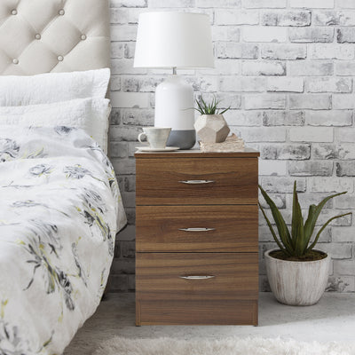 Walnut Bedside Tables Cabinet - 3 Drawers - Laura James
