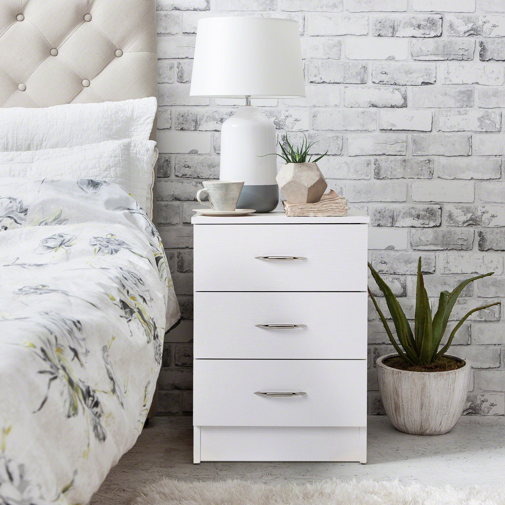 Picture of: White Bedside Tables Cabinet 3 Drawers Laura James