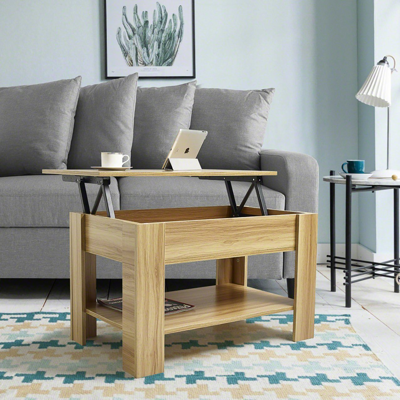 Lift up Top Coffee Table with Storage & Shelf - Beech - Laura James