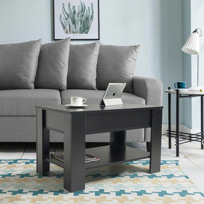 Lift up Top Coffee Table with Storage & Shelf - Black - Laura James