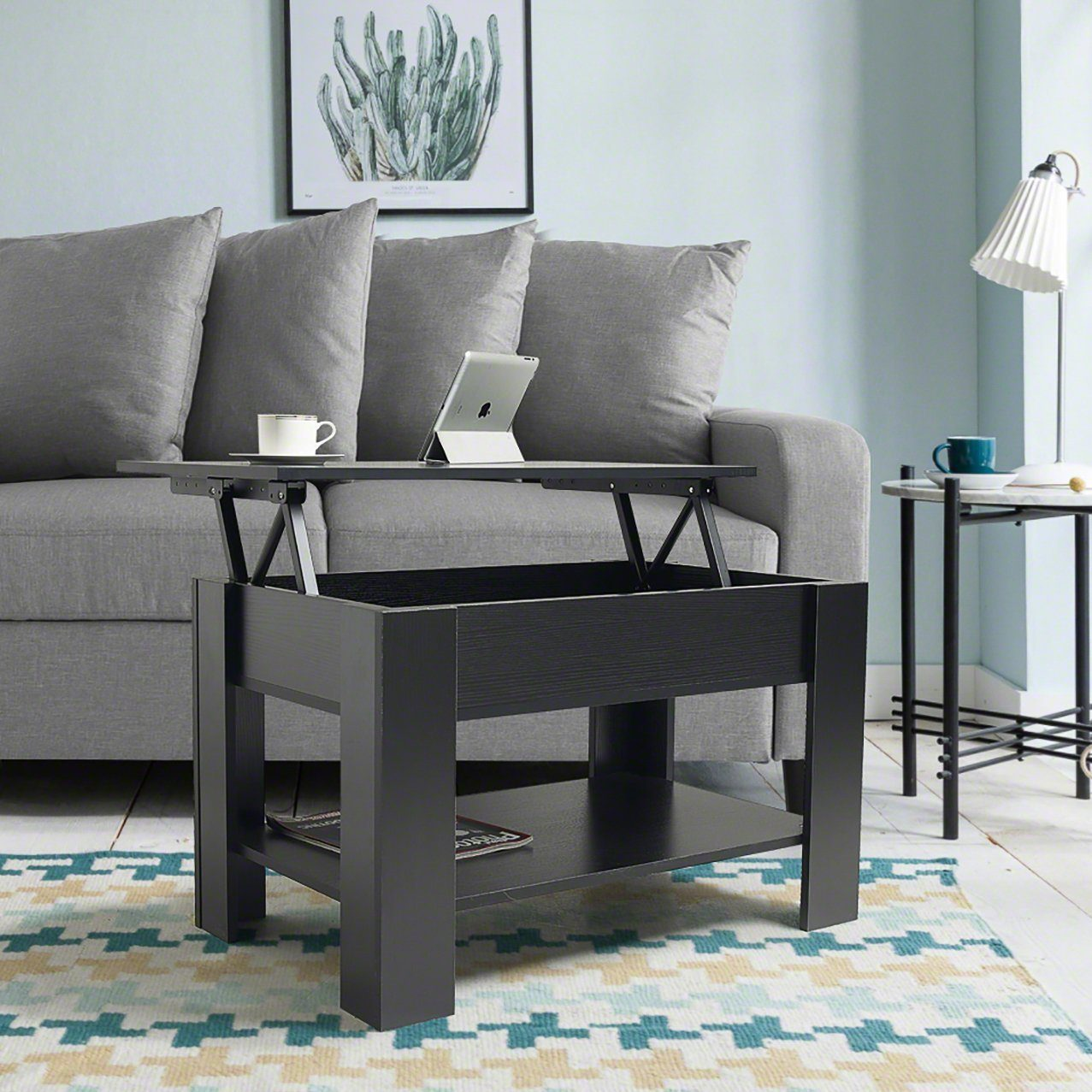 Lift up top coffee table with storage shelf black laura james
