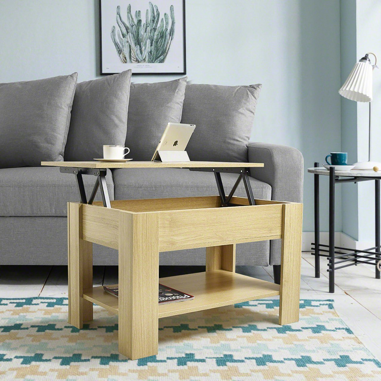 Lift up Top Coffee Table with Storage & Shelf - Oak - Laura James