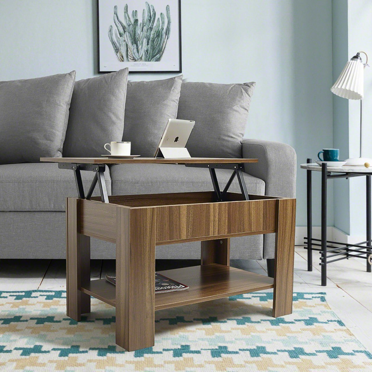 Lift up Top Coffee Table with Storage & Shelf - Walnut - Laura James