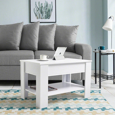 White Lift Up Top Coffee Table With Storage Shelf In