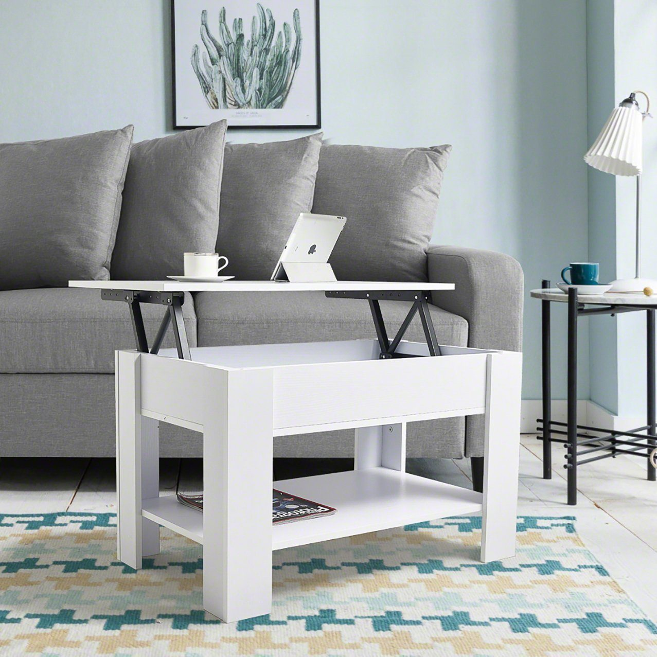 White Lift up Top Coffee Table with Storage / Shelf - Laura James