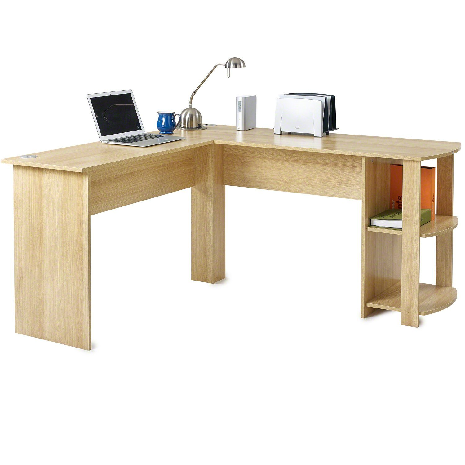 Oak L-Shaped Office Desk with Shelves - Laura James