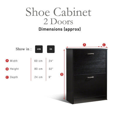 Shoe Cabinet Wooden Storage Organizer Footwear 2 Drawer Rack (Black) - Laura James