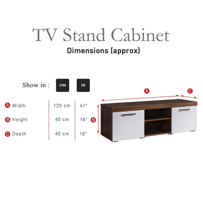 TV Stand Cabinet TV Unit - Walnut and White - Laura James