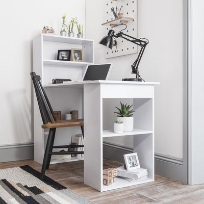 Combination Computer Desk Workstation - Storage Shelf Unit – Home Office Study Table Perfect for Laptops, Desktops (White) - Laura James