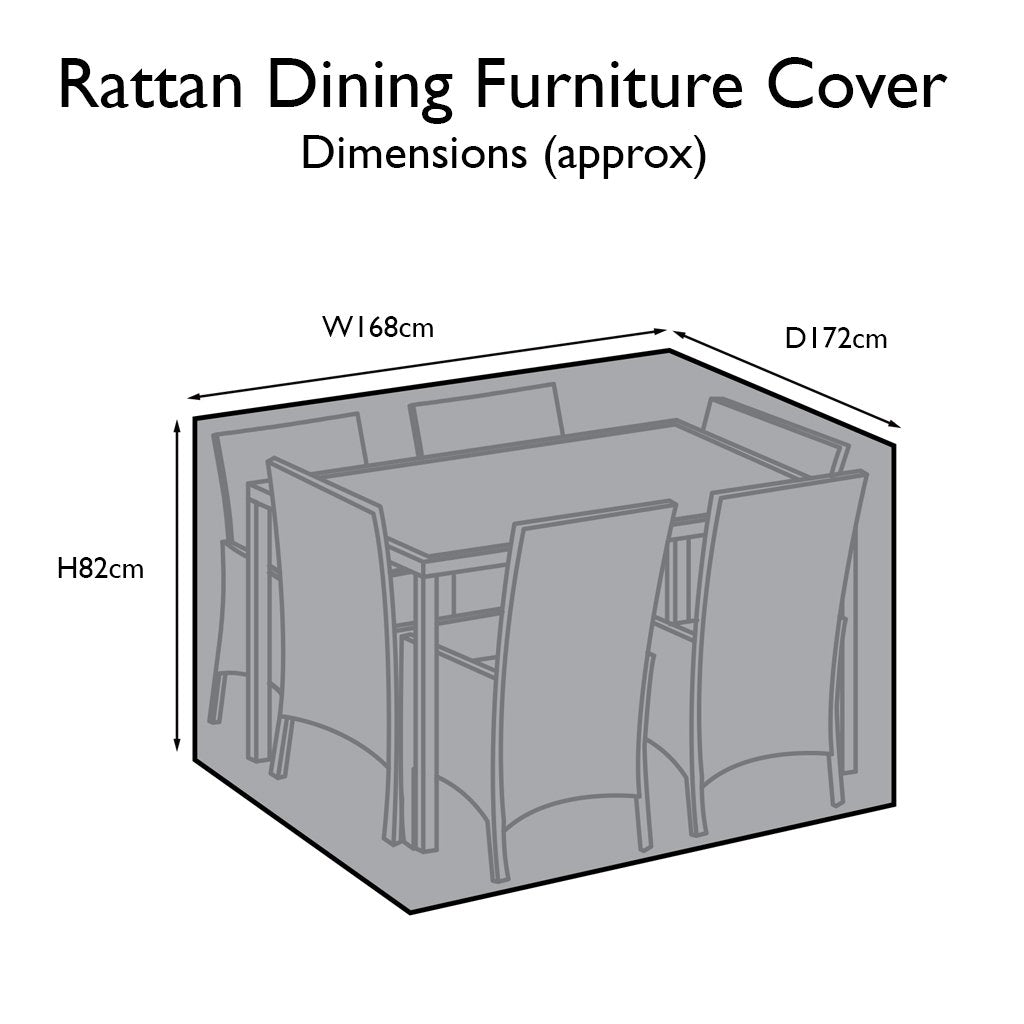Outdoor Rattan Furniture Cover for 6 Seater Rectangular Dining Set - Laura James