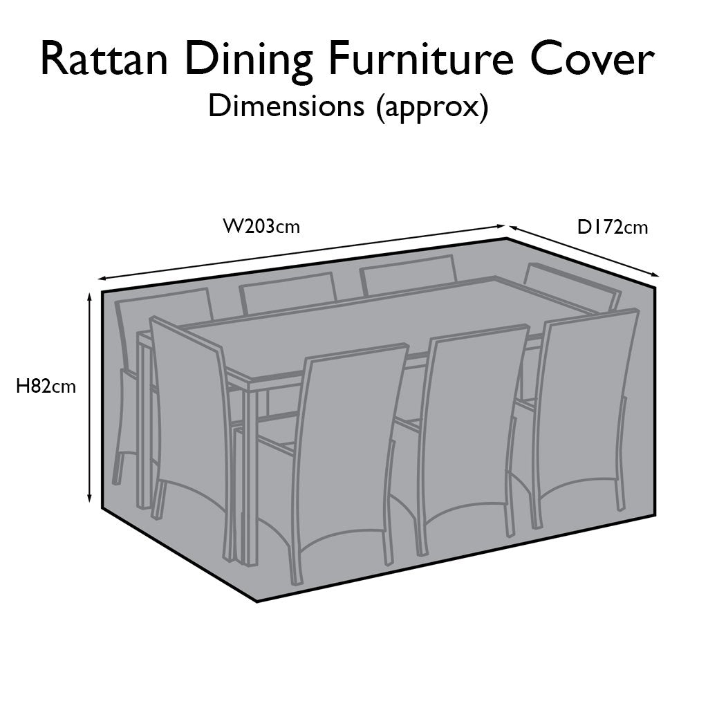 Outdoor Rattan Furniture Cover for 8 Seater Rectangular Dining Set - Laura James