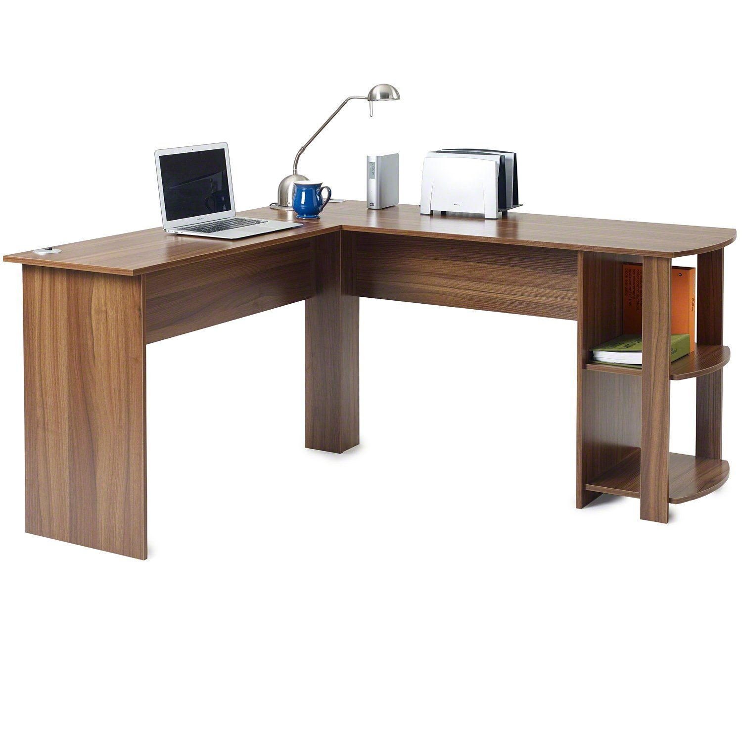Walnut Corner Computer Desk For Home Office - Laura James