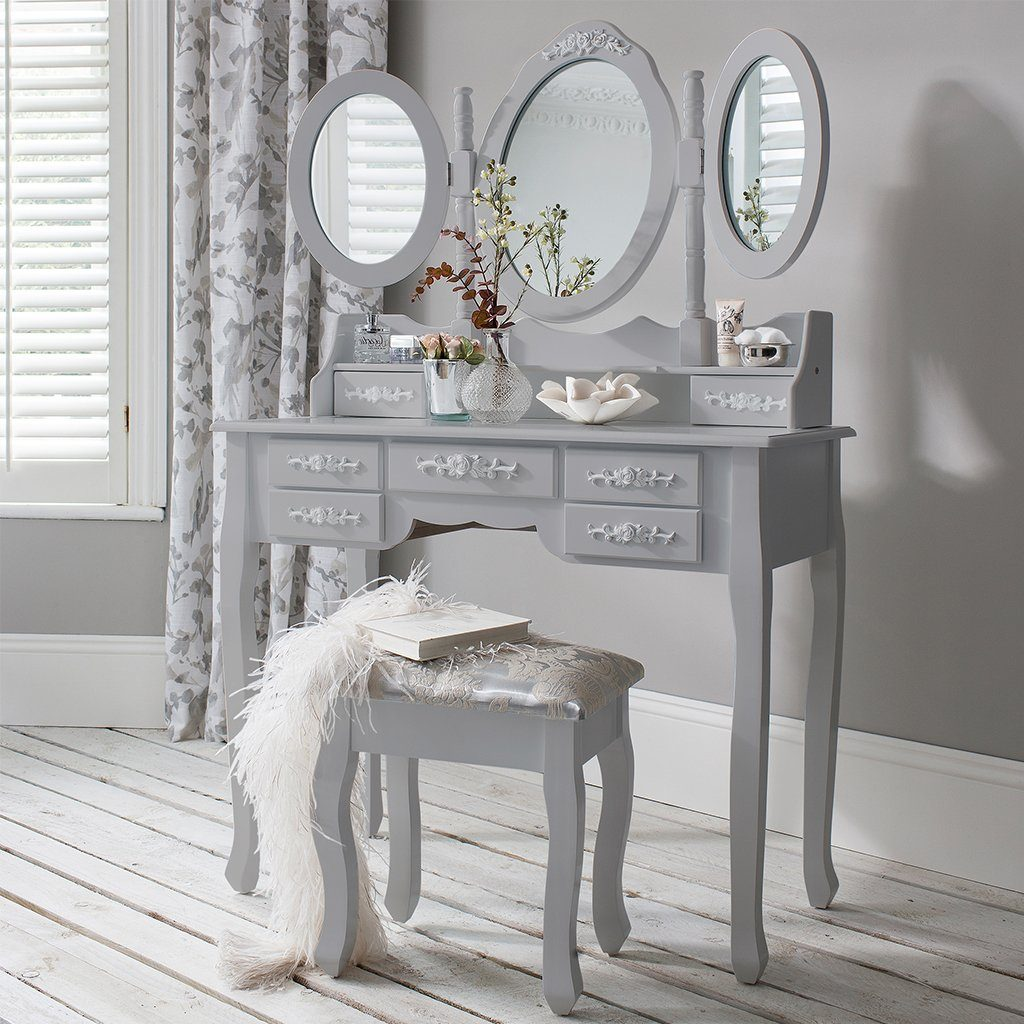 Monaco Dressing Table, Stool & Mirror Set - Grey Painted - In Stock Date - 2nd June 2020 - Laura James