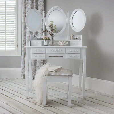Monaco Dressing Table, Stool & Mirror Set - White Painted - Laura James
