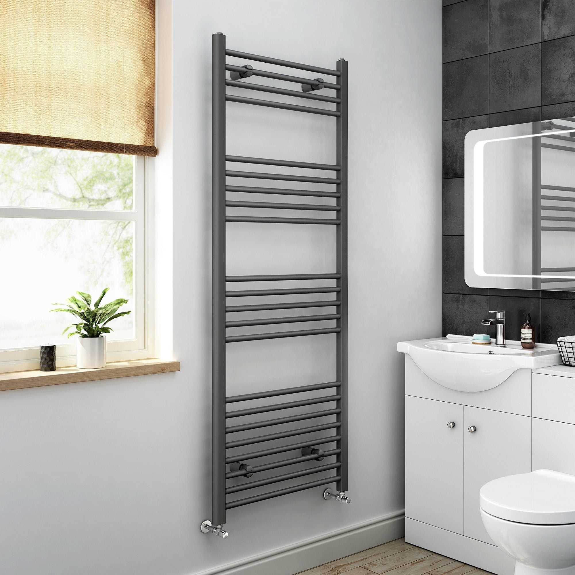 Heated Towel Rail in Anthracite Grey 1600 x 600mm