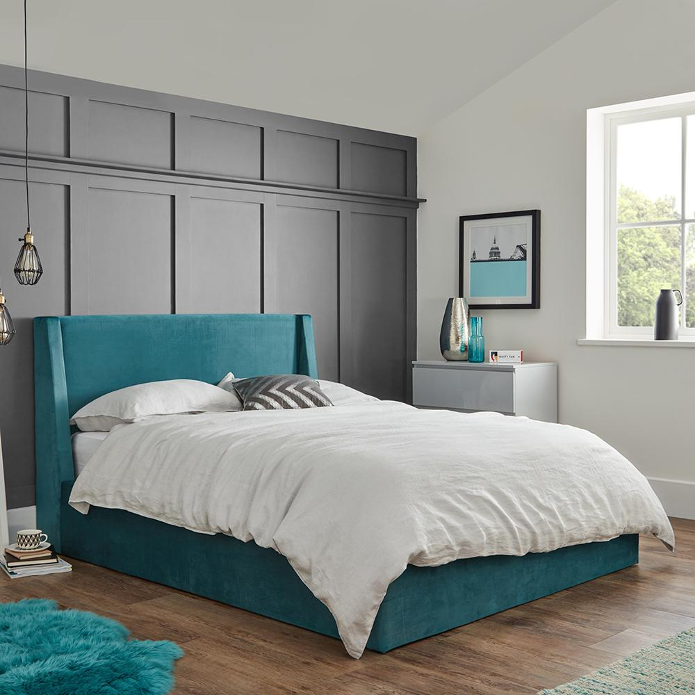 Teal velvet king size ottoman bed frame - Laura James