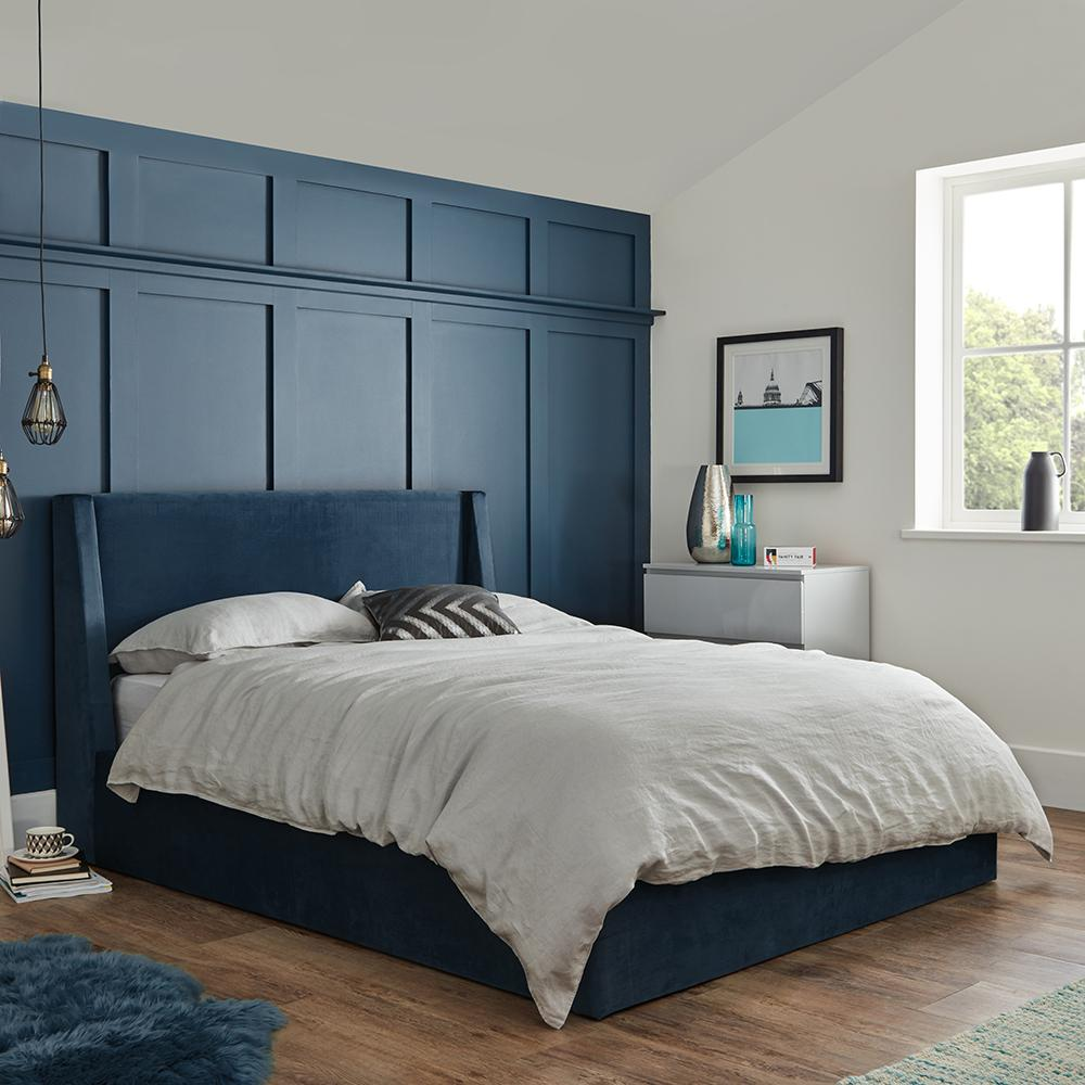 Blue velvet modern storage ottoman double bed frame - Laura James