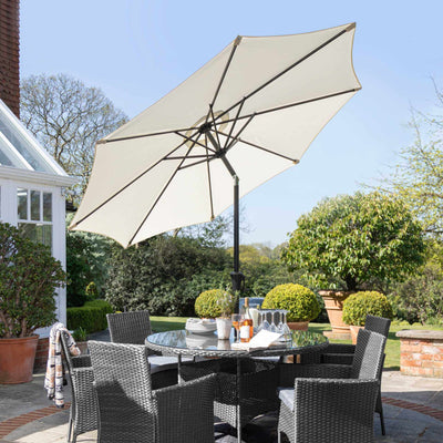6 Seater Rattan Round Dining Set with Premium Parasol and Parasol Rain Cover - Grey - In Stock Date - 5th August 2020