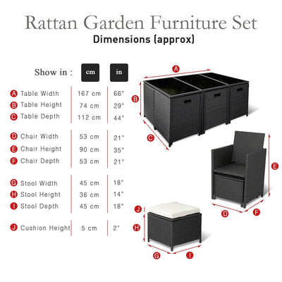 11 pc Rattan Cube Garden Furniture Set (10 seater, Black) - Laura James