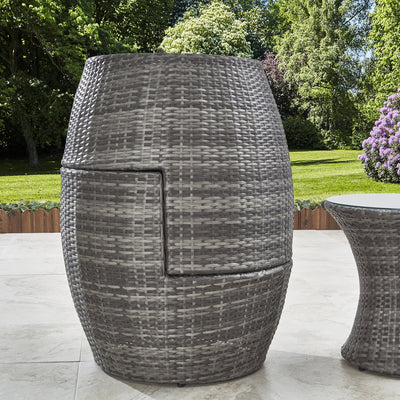2 Seater Rattan Egg Chair Bistro Set Grey - Garden Furniture Outdoor - Laura James