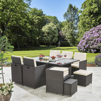 10 Seater Rattan Cube Garden Set with Parasol - Outdoor Dining Furniture - (Mixed Brown Weave) - Laura James