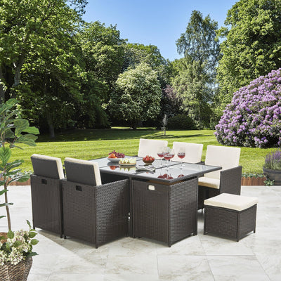 PRE-ORDER - IN STOCK - 17-19 JULY -  10 Seater Rattan Cube Dining Set with Parasol - Outdoor Garden Furniture - (Mixed Brown Weave) - Laura James