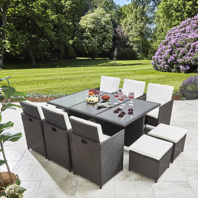 Rattan Cube Garden Furniture Set - 10 Seater Brown - Laura James