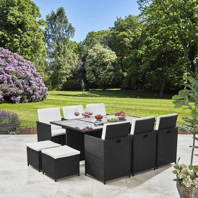 Rattan Cube Garden Furniture Set - 10 Seater Black - Laura James
