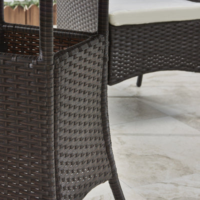 2 Seater Rattan Bistro Dining Set in Brown - Garden Furniture Outdoor - Laura James